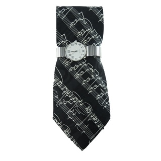 Men's Silver Stretch Band Watch with Steven Harris Musical Note Necktie and Watch Set
