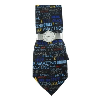 Men's Watch and Novelty Tie Gift Set Silver Stretch Band Watch and Steven Harris 'Amazing Grace' Christian Necktie Set
