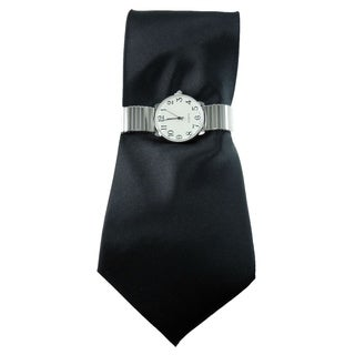 Men's Black Tie and Silver Stretch Band Watch with Solid Black Necktie and Watch Set