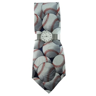 Men's Watch Set Silver Stretch Band Watch and Baseball Print Tie Set