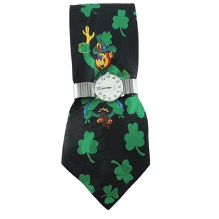 Men's Watch and Novelty Tie Gift Set Silver Stretch Band Watch with Steven Harris St. Patrick's Day Necktie Gift Set