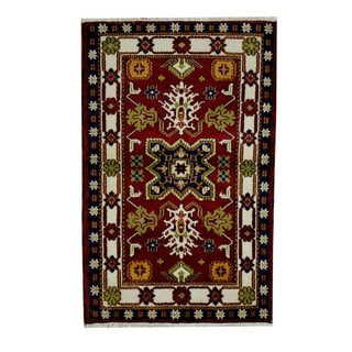 Handmade One-of-a-Kind Kazak Wool Rug (India) - 3'2 x 4'11