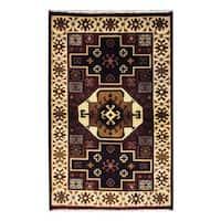 Handmade Herat Oriental Indo Tribal Kazak Wool Rug  - 3'2 x 5' (India)
