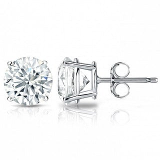 Suzy Levian 14K White Gold Classic Four-prong Diamond Stud Earrings (G-H, SI2-SI3)
