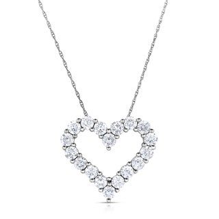 Eloquence 14k White Gold, 1/4ct TDW Diamond Heart Pendant