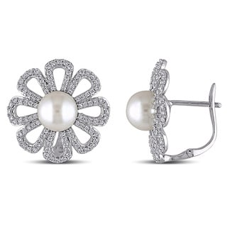 Miadora Signature Collection 14k White Gold Cultured Freshwater White Pearl and 1ct TDW Diamond Flower Earrings (G-H, SI1
