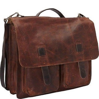 Sharo 2-tone Vintage Leather 15-inch Laptop Messenger Brief