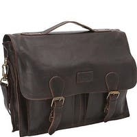 Sharo Dark Brown Distressed Leather 15-inch Laptop Messenger Brief