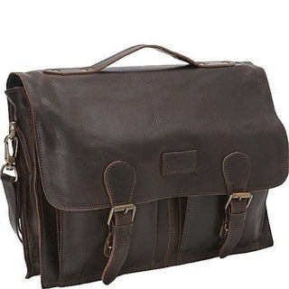 Sharo Black Distressed Leather 15-inch Laptop Messenger Brief