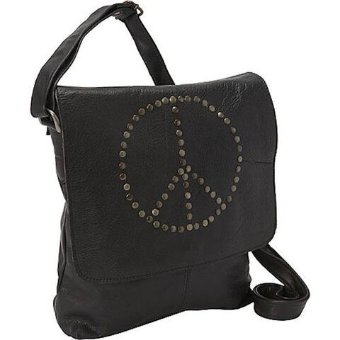 Sharo Peace Sign Leather Cross Body bag - Black - M