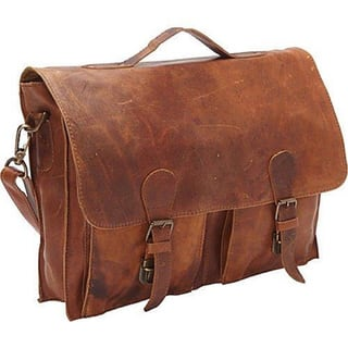 Sharo Brown Distressed Leather 15 Inch Laptop Messenger Brief