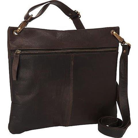 Sharo Dark Brown Soft Leather Cross Body Bag - M