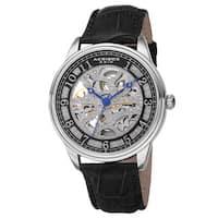 Akribos XXIV Men's Automatic Skeleton Dial Leather Silver-Tone Strap Watch