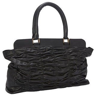 Deleite by Sharo Black Genuine Leather Quilted Handbag