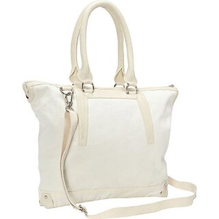 Sharo Large White Canvas Tote with Attachable Adjustable Shoulder Strap