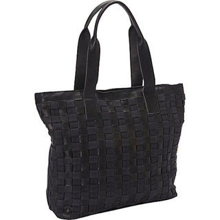 Sharo Large Black Canvas/ Leather Weave Tote