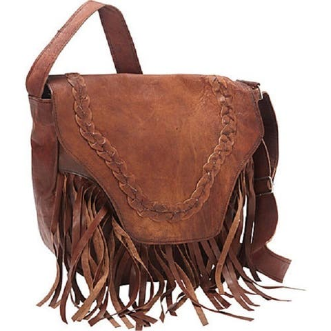Sharo Brown Leather Western Fringe Cross Body Bag - M