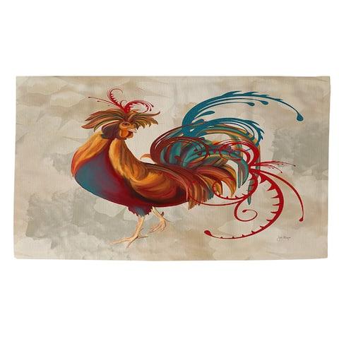 Teal Rooster II Rug