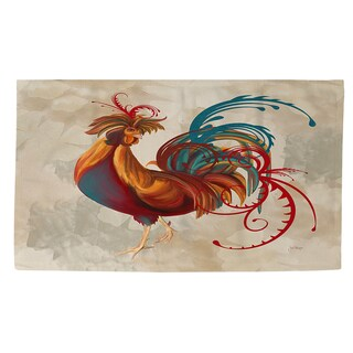 Teal Rooster II Rug (4' x 6')