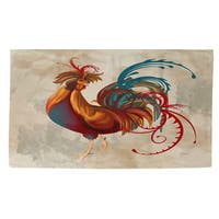 Teal Rooster II Rug (4' x 6') - 4' x 6'