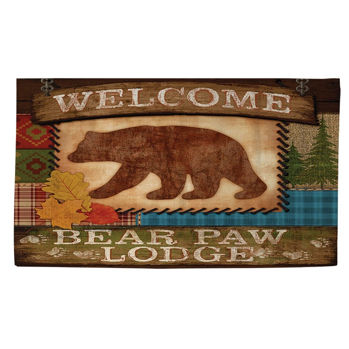 Welcome Bear Paw Lodge Rug (4' x 6') (As Is Item) (Thumbp...