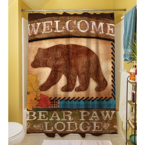 Welcome Bear Paw Lodge Shower Curtain   Free Shipping Today   Overstock.com    17205757