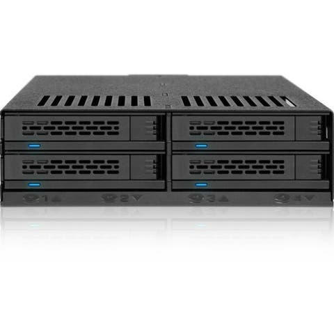 "Icy Dock ExpressCage MB324SP-B Drive Enclosure for 5.25"" Serial ATA/600, 6Gb/s SAS - Serial ATA/600 Host Interface Internal - B"