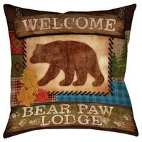 Welcome Bear Paw Lodge Decorative Throw Pillow