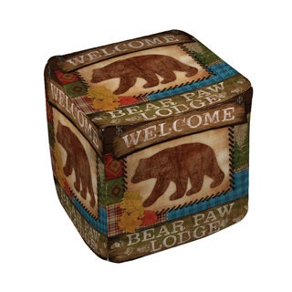 Welcome Bear Paw Lodge Pouf