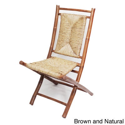 Heather Ann Bamboo Folding Chairs (Set of 2) (Brown/Natur...