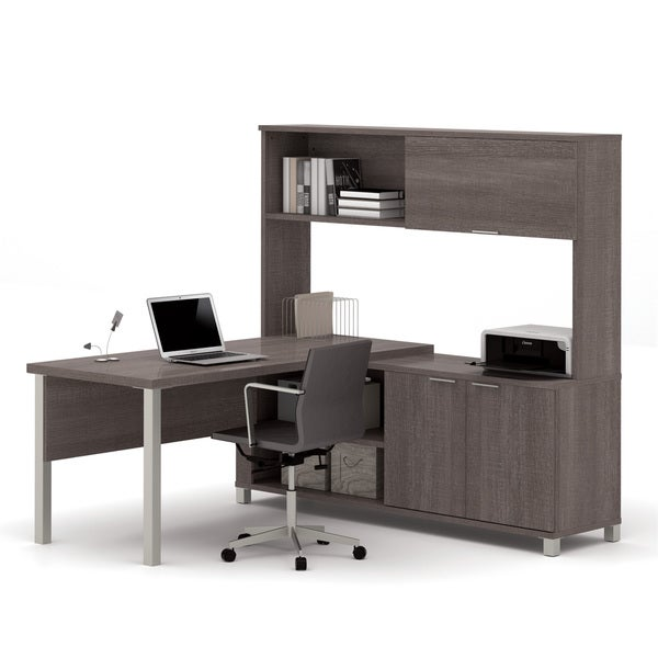 Bestar Pro-Linea L-Desk with Hutch - Free Shipping Today - Overstock