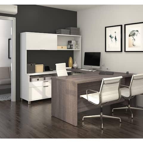 Bestar Pro-Linea U-Desk with Hutch