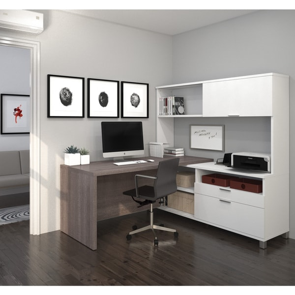Bestar Pro Linea L Desk With Hutch Free Shipping Today