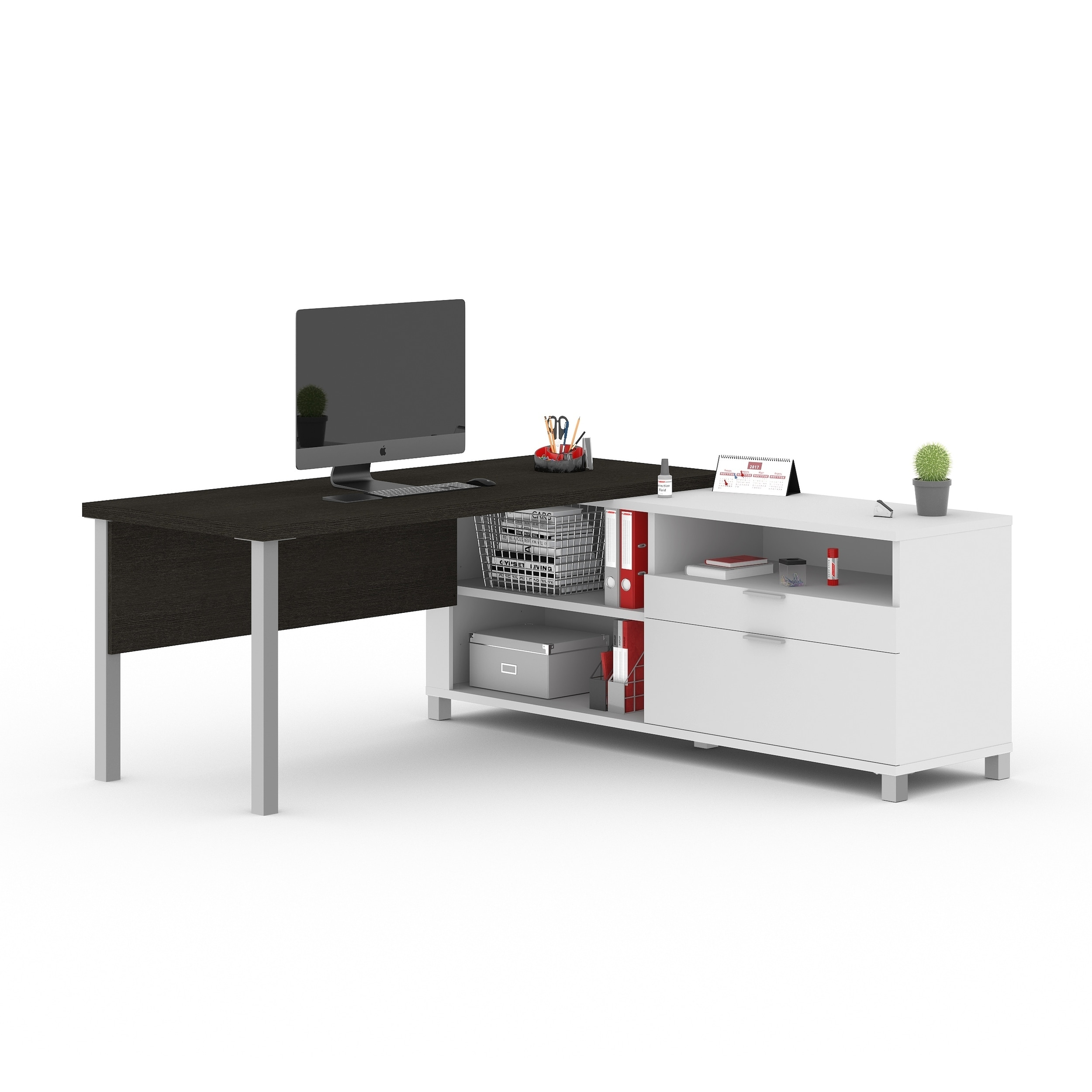 White Bestar Pro Linea L Desk With Hutch Office Furniture Accessories Computer Armoires Hutches