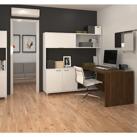 Bestar Pro-Linea L-Desk with Hutch