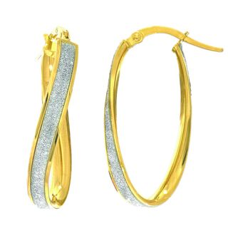 14k Gold 3.75mm Twisted Oval Hoop Earrings with Glitter Accent