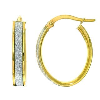 14k Yellow Gold Oval Hoop Earrings with Glitter Accent