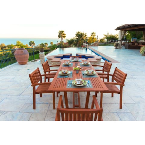 Surfside Eco-friendly 7-piece Wood Extendable Outdoor Dining Set by Havenside Home