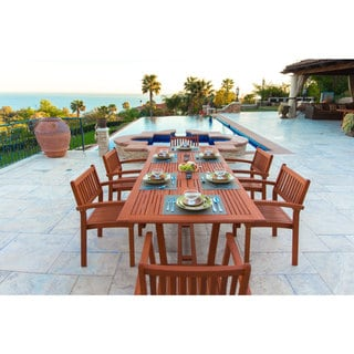 Havenside Home Surfside Eco-friendly 7-piece Wood Extendable Outdoor Dining Set