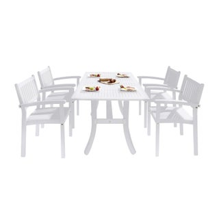 The Gray Barn Bluebird 5-piece Eucalyptus Wood Outdoor Dining Set with Curved Table