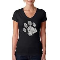 LA Pop Art Women's Dog Paw V-Neck T-Shirt