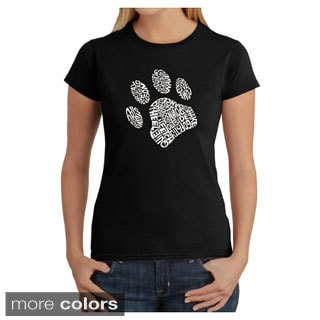 LA Pop Art Women's Dog Paw T-Shirt