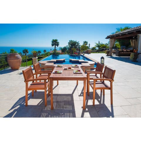 Malibu Eco-Friendly 5-piece Outdoor Dining Set with Stacking Dining Chairs