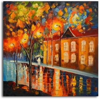 Reflections in Night's Colors' Original Oil Painting on Canvas