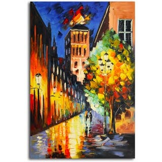 Lamp-Lit Night' Original Oil Painting on Canvas