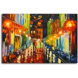 Warmth on a Rainy Night' Original Oil Painting on Canvas