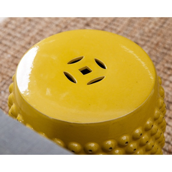 Abbyson Sophia Yellow Pierced Ceramic Garden Stool   Free Shipping Today    Overstock.com   17206651
