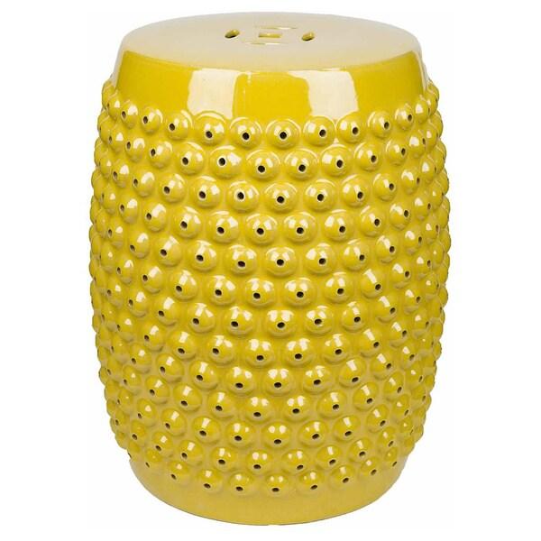Abbyson Sophia Yellow Pierced Ceramic Garden Stool   Free Shipping Today    Overstock.com   17206651
