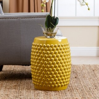 Abbyson Sophia Yellow Pierced Ceramic Garden Stool