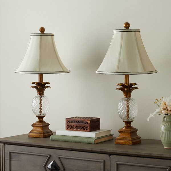 Abbyson alexandra antiqued gold pineapple table lamps set of 2